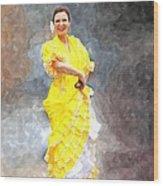 Flamenco Dancer In Yellow Wood Print