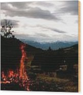 Flames With View Wood Print