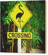 Flamingo Crossing Wood Print