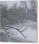 Flat River In Winter No.026 Wood Print