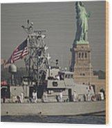 Fleet Week Vessels Pass By The Statue Wood Print