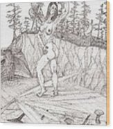 Flexible In The Morning... - Sketch Wood Print by Robert Meszaros