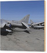 Flight Deck Personnel Reposition Av-8b Wood Print