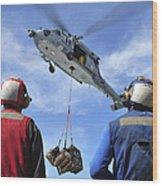 Flight Deck Personnel Wait For Supplies Wood Print