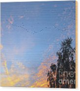 Flight Into The Sunset Wood Print
