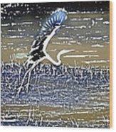 Flight Of The Egret V5 Wood Print