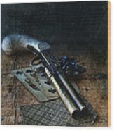 Flint Lock Pistol And Playing Cards Wood Print