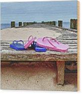 Flip Flops On The Dock Wood Print