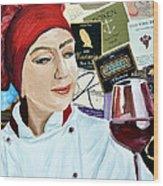 Flo Enjoys A Glass Of Wine Wood Print