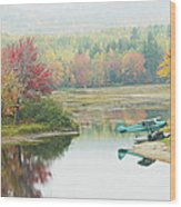 Float Plane On Pond Near Golden Road Maine Photo Poster Print Wood Print