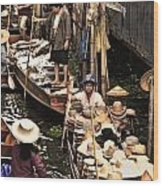 Floating Market Bangkok Wood Print