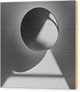 Floating Sphere On Light Triangle- Black And White Silver Gelati Wood Print by Adam Long