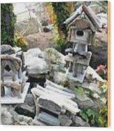 Flock Of Rustic Birdhouses Wood Print