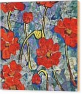 Floral Art - Red Poppies Wood Print