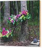 Floral Bicycle On A Cloudy Day Wood Print