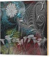 Floral Fractal Wood Print