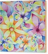 Floral Fractal Wood Print by Linda Pope