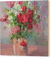 Floral In Pink Wood Print