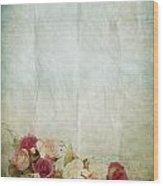 Floral Pattern On Old Paper Wood Print