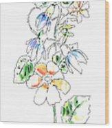 Floral Watercolor Paintings 4 Wood Print