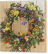 Floral Wreath Wood Print