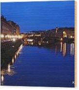 Florence Arno River Night Wood Print