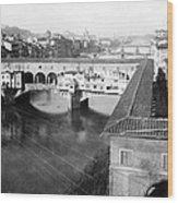 Florence Italy - Vecchio Bridge And River Arno Wood Print