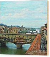 Florence Shopping Bridge Wood Print