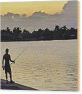Florida Fishing At Sunset Wood Print