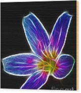 Flower - Electric Blue - Abstract Wood Print