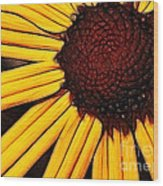 Flower - Yellow And Brown - Abstract Wood Print