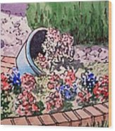 Flower Bed Sketchbook Project Down My Street Wood Print