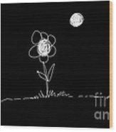 Flower In The Moonlight Wood Print
