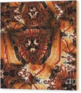 Flower Pattern In Sepia Wood Print