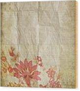 Flower Pattern On Old Paper Wood Print