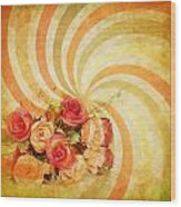 Flower Pattern Retro Style Wood Print