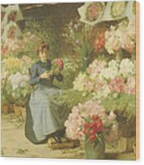 Flower Seller In Front Of The Madeleine Church Wood Print