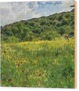 Flowering Fields Wood Print
