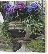 Flowerpot With Hydrangea Wood Print