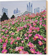 Flowers And Architecture Around Peoples Square Wood Print