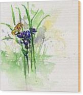 Flowers And Butterfly Wood Print