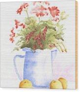 Flowers And Lemons Wood Print