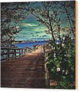 Flowers By The Pier Wood Print