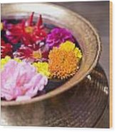 Flowers Floating In A Bowl Filled With Wood Print