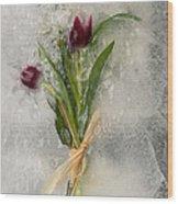 Flowers Frozen In Ice Wood Print