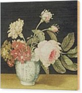 Flowers In A Delft Jar  Wood Print by Alexander Marshal