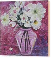 Flowers In A Magenta Room Wood Print