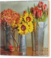 Flowers In Cans Wood Print
