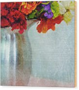 Flowers In Metal Pitcher Wood Print