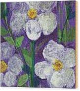 Flowers In Moonlight Wood Print